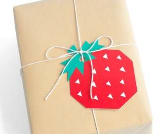 Geo Strawberry Gift Tags