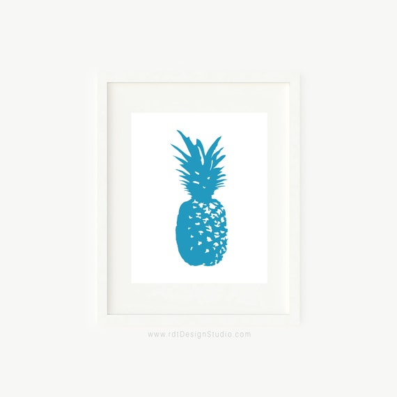 Blue Print Wall Decor : Blue pineapple print home wall decor kitchen by