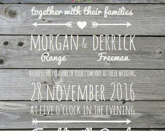 Rustic Antler Wedding Invitation, Deer Wedding Invitation, Country Wedding Invitation