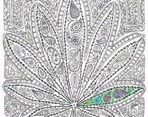 Articles populaires correspondant art de feuille de marijuana sur etsy - Coloriage feuille de cannabis ...