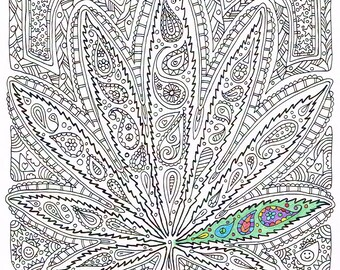 adult coloring page got leaf printable pot leaf coloring page for adults to - Trippy Coloring Books