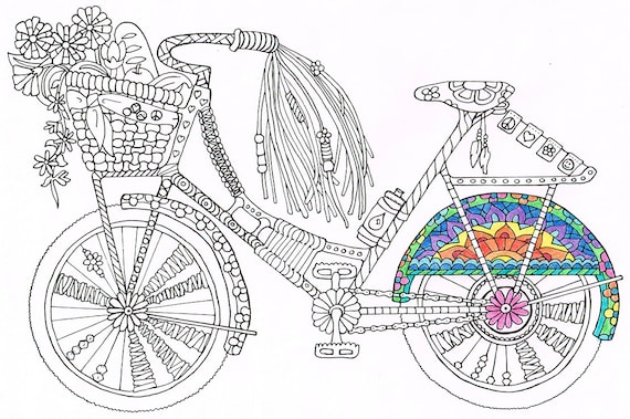 coloring page bicycle printable coloring page for kids and for adults to print and color - Bicycle Coloring Book