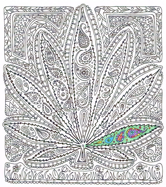 Adult Coloring Page Got Leaf Printable Pot Leaf Coloring Trippy Pot Leaf Coloring Pages