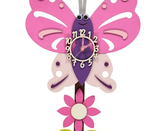 Butterfly Personalised Wooden Pendulum Clock
