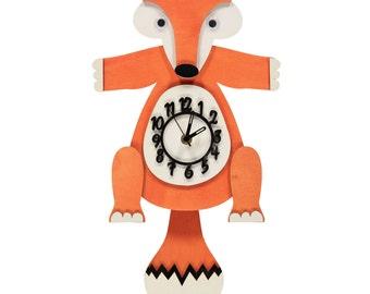 Fox Personalised Wooden Pendulum Clock