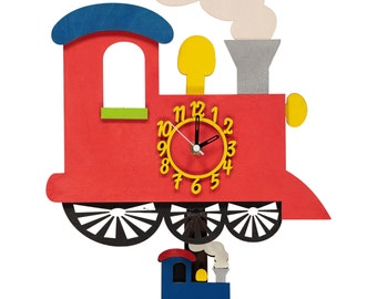 Red Train Personalised Wooden Personalised Clock