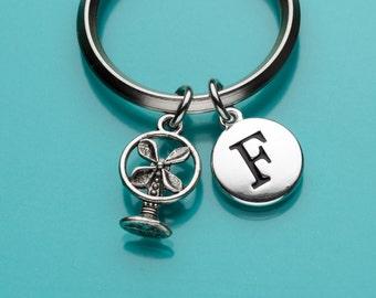 Fan Keychain, Electric Fan Key Ring, Antique Fan Keychain, Initial Keychain, Personalized Keychain, Custom Keychain, Charm Keychain, 420