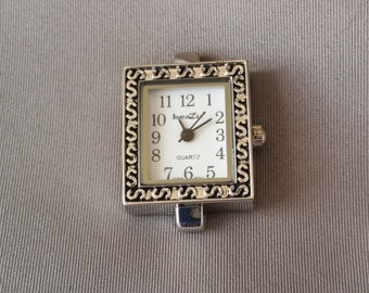 Beazu Rectangle Silver Alloy Watch Face for Beading LVLC-031