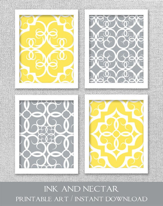 Items similar to PRINTABLE Art, Gray and Yellow Art ...