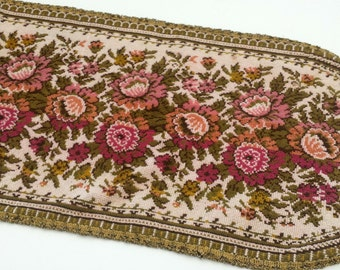 Vintage Needlepoint Tapestry Table Runner, Fireplace Mantel Scarf Belgium, Pink Floral