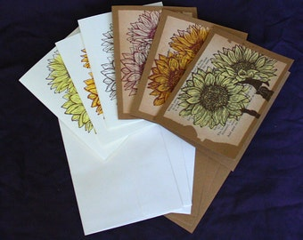 Sunflower Blank Greeting Cards with Envelopes, Set of 6