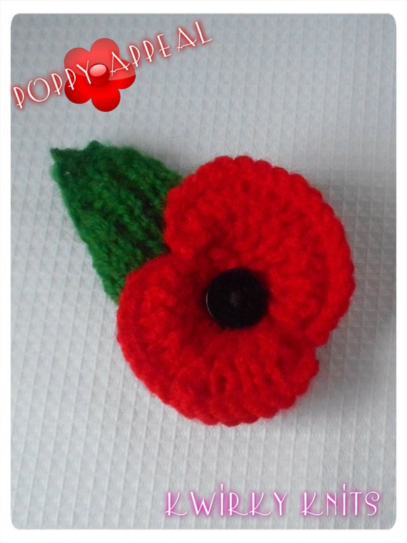 Poppy appeal. Knitted poppy brooch with leaf. pin brooch.