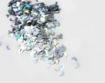 Holographic Laser Silver Crescent Moon Glitter, 3mm