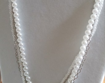 Multi strand faux pearl and chain necklace
