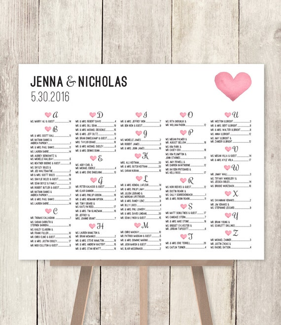 Alphabetical seating chart sign diy wedding seating chart pink