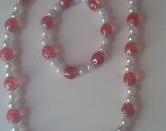 Red & White Beaded Jewelry Set   (#356)