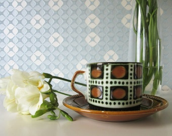 Vintage Cup and Saucer with Bernadette design by Boch in Belgium 60s