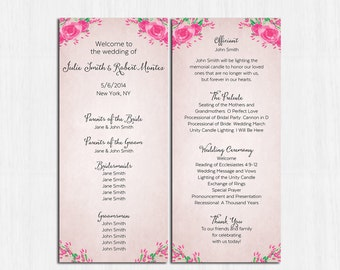 Wedding program, peonies program, flower wedding program, roses wedding program, shabby chic wedding programs, pink program, pink wedding