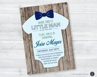 Rustic Onesie Baby Shower Invitation