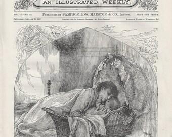 Hush my baby, original wood-engraved children's illustration, 1887
