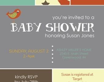 Sweet Stars & Birdies Gender Neutral Baby Shower Invitation