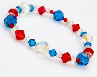 Red White and Blue Bracelet Patriot Jewelry Fourth of July Bracelet Patriotic Bracelet with Swarovski® Crystal, July 4th Bracelet