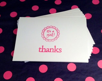 Baby Shower -  Girl - Thank You - Folded Note Cards and Envelopes - Pink and White - Set of 8