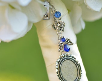 Something Blue Bouquet Picture Charm - Bridal Bouquet Charm -Wedding Bouquet Photo Charm - Something Blue - Bridal Gift - Bouquet Charm