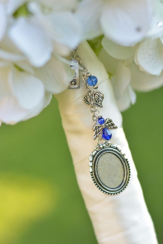 Blue Bridal Bouquet Charm : Something blue bouquet picture charm bridal by petalwhispers