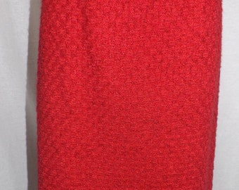 Vintage late 1950's early 1960's red knit skirt...nice checkerboard pattern to it!