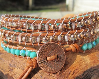 Turquoise and Copper Bracelet,  Leather Anniversary, Gift for Her, Beaded Leather Wrap Bracelet, Boho Bracelet, SouthWestern