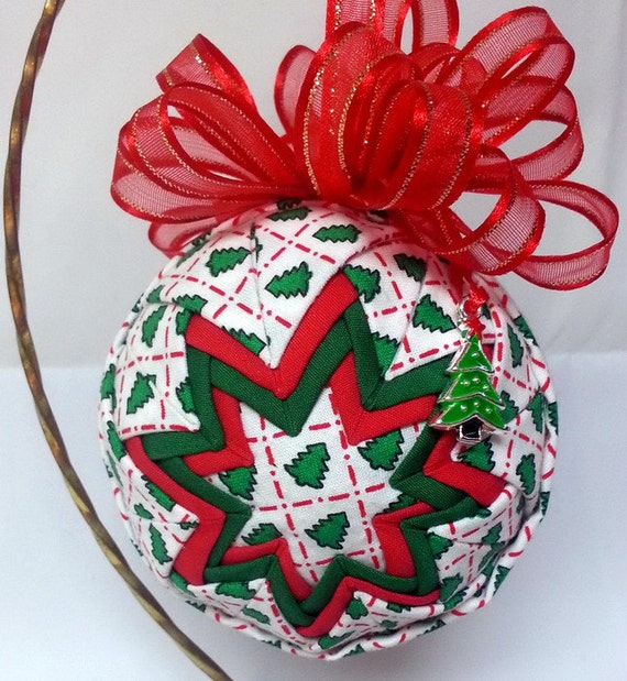 Christmas Tree Ornaments Quilted : Christmas ornament quilted handmade oh