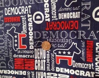 DEMOCRAT, USA, Patriotic, American, Political Fabric~ 100% Cotton FQ/ Fat Quarter, for Crafts & Quilting