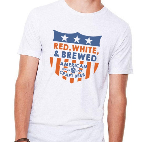 Red white and brewed american craft beer t shirt for Craft brewery t shirts