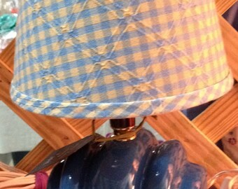 Vintage Blue Lamp w/checkered shade