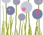 Contemporary meadow flowers. Modern cross stitch. Retro inspired pattern. Cross stitch sampler.