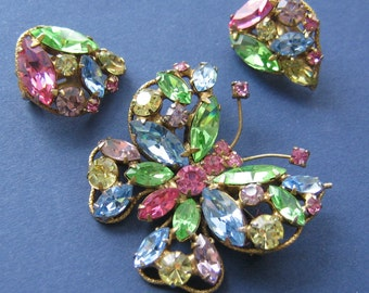 Book Piece: Signed Regency rhinestone butterfly and matching earrings