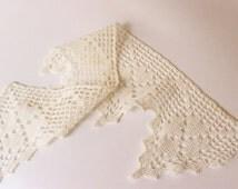 Natural Cotton crochet lace - Vintage cotton lace applique / Decorative trim supply - VL002