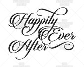 Happily Ever After Calligraphy Wedding Script Ring Bearer Quote Marriage Saying Machine Embroidery Pattern Design, couples, marriage
