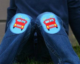 Two embroidered Firetruck iron-on knee patches (sold in pair)