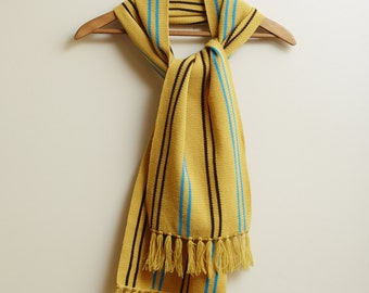 1970s Terry Togs Yellow Stripe Knit Scarf • L [RS17]