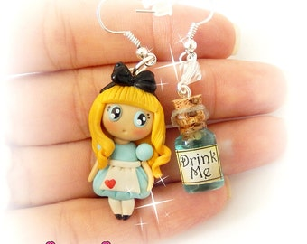 Alice & Drink Me Bottle Earrings Polymer Clay Miniature Handmade Alice In Wonderland Inspired Cute Delicate Jewelry