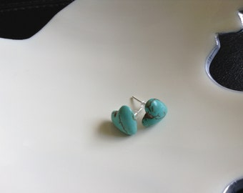 Heart shaped turquoise stone post earrings. Almost as unique as you.