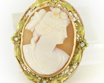 """1890 hand carved Cameo pin/ pendant in 10kt gold with green leaves accent 1.25"""" long CAMPEN10014"""