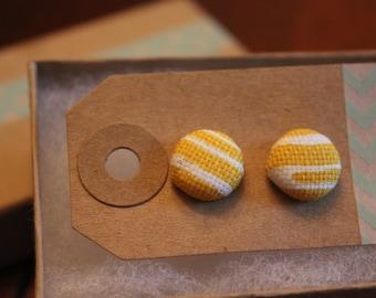 SALE || Yellow Corn Fabric Earrings - Small