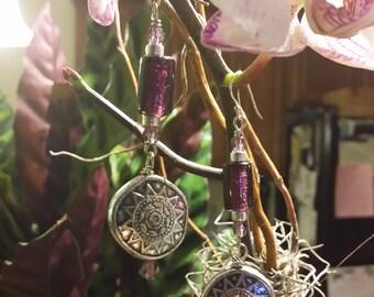 Purple Glass & Found Bead Dangle Earrings