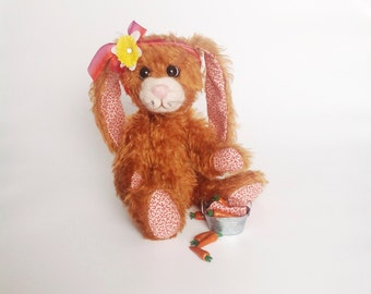 Artist Mohair Stuffed Bunny Rabbit / Teddy Bear with needlefelt face