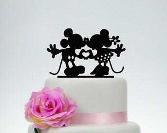 Mickey And Minnie Cake Topper, Wedding Cake Topper,Custom Cake Topper,Disney Cake Topper,Personalize Cake Topper,Unique Cake Topper  P092