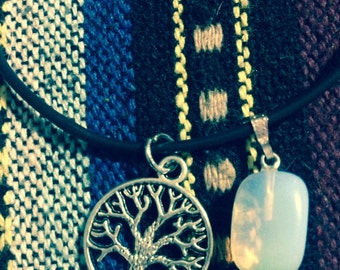 Tree Of Life Opalite Crystal Pendant Charm