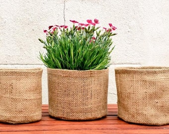 3x ROUND JUTE POTS Gardening Basket Extra Strong Durable Long Lasting Basket Hessian Burlap Garden Bag Bucket Plant Outdoor Planter Holder